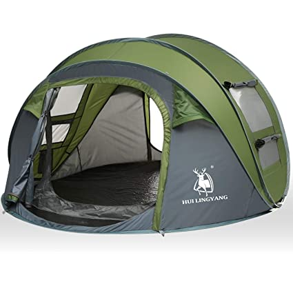 c79d338887b HUI LINGYANG 4 Person Easy Pop Up Tent-Automatic Setup Sun Shelter for  Beach-