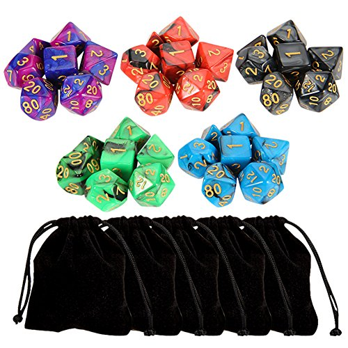 outee-5-x-7-35-pieces-polyhedral-dice-with-5-complete-dice-set-for-dungeons-and-dragons-dnd-rpg-mtg-
