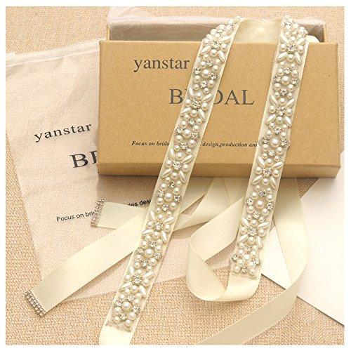 Yanstar Silver Pearl Rhinestone Wedding Bridal Belt Sash with Ivory Ribbon for Prom Dress by yanstar