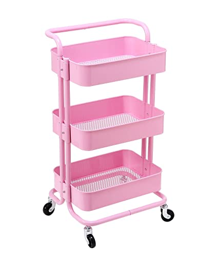 Amazoncom Hollyhome 3 Tier Rolling Cart Metal Utility Cart With
