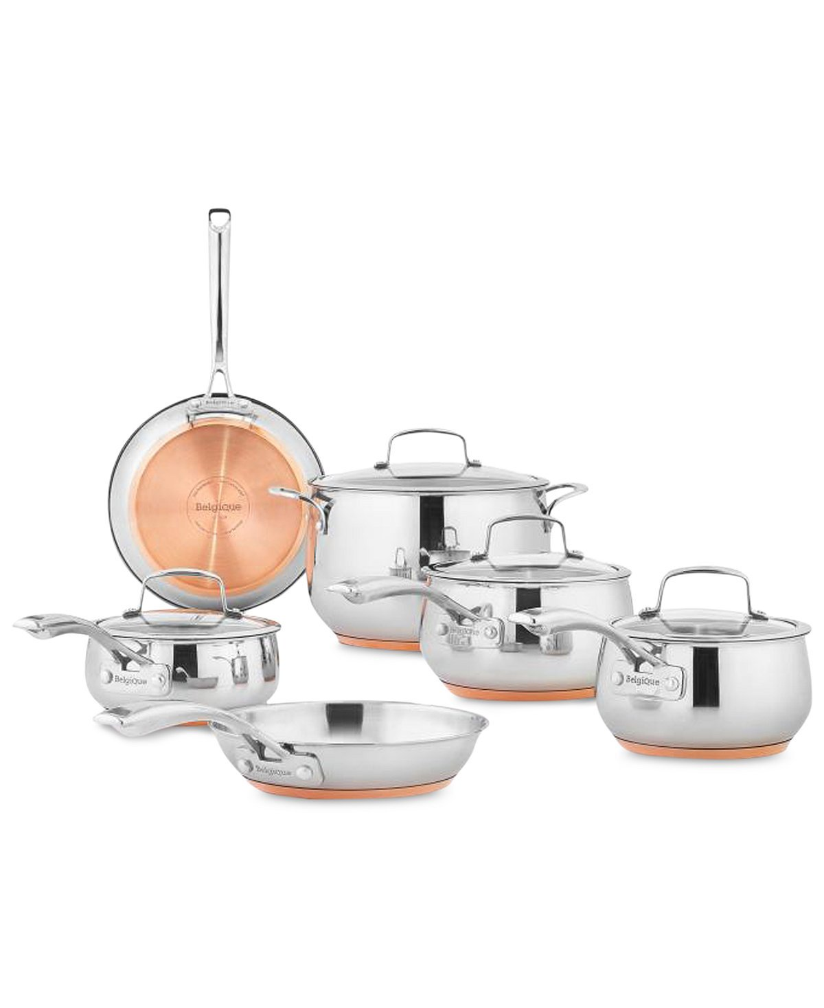 Belgique | Copper Bottom Cookware Set for Quick & Even Heating | High End Gourmet 10 Piece Cookware Set for Great Home Cooked Meals | Copper & Stainless Steel