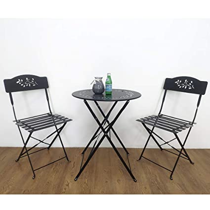Incredible Orange Casual 3 Piece Folding Bistro Set Steel Patio Dining Table And Chair Sets Garden Backyard Outdoor Furniture Black Bralicious Painted Fabric Chair Ideas Braliciousco