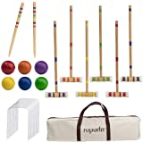 ROPODA Six-Player Croquet Set with Wooden Mallets, Colored Balls, Sturdy Carrying Bag for Adults &Kids, Perfect for Lawn,Back