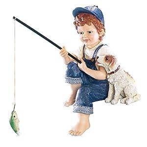 Collections Etc Little Boy Fishing Outdoor Garden Pond Sculpture, Blue