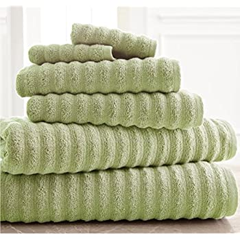 6 piece sage wavy ribbed luxury quick dry towel set with 30 x 58 inches bath towels. Black Bedroom Furniture Sets. Home Design Ideas