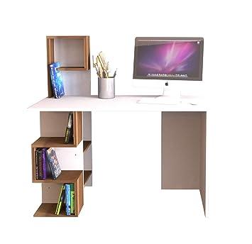 Homidea DERONI Schreibtisch Opposite - Wei/ß//Nussbaum Computertisch mit Regal in modernem Design