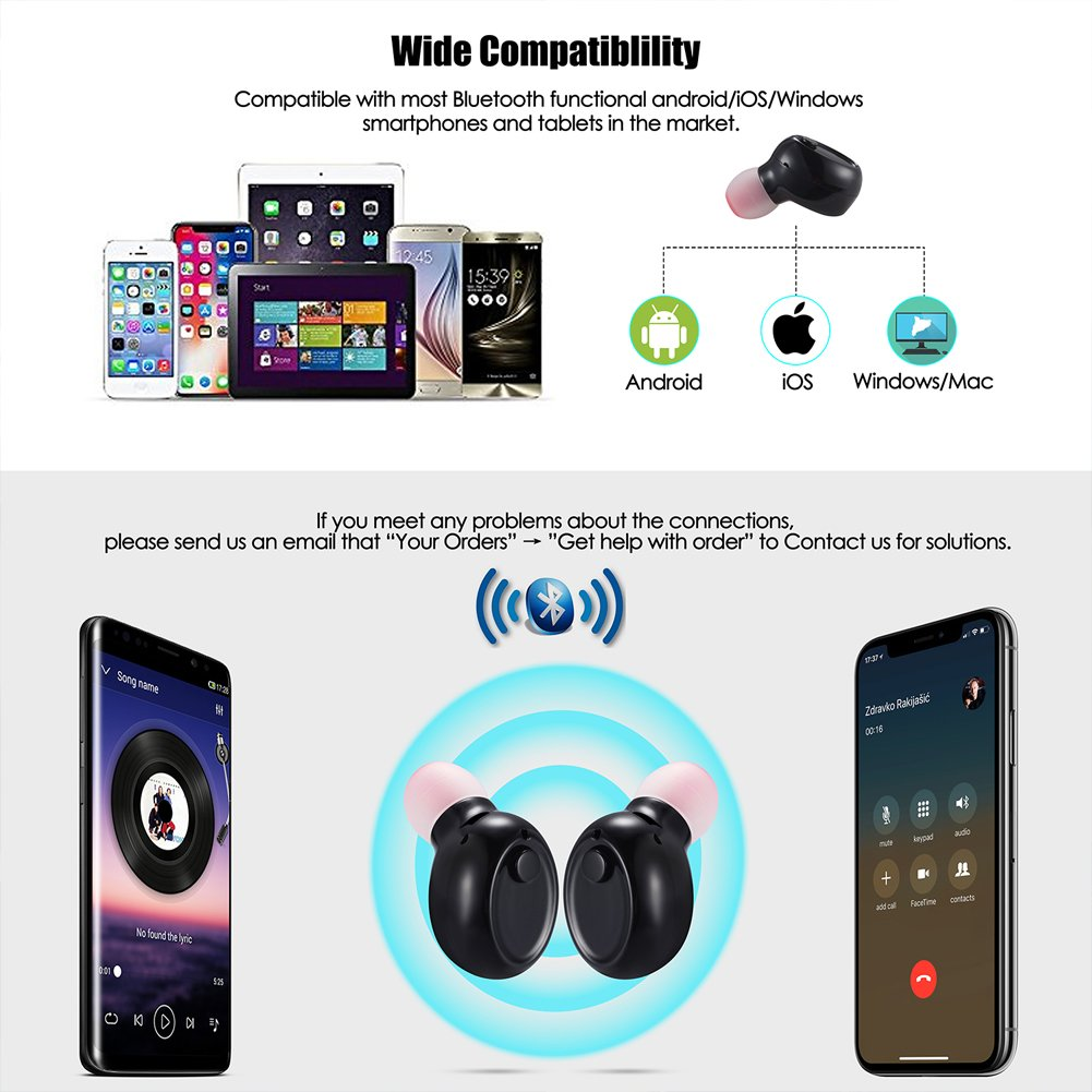 Mini Bluetooth Earbuds, PChero Wireless Invisible Headphone with Built-in Mic and Charging Box, Ideal for iOS Android Smartphones Tablets (Black, Double Ears) by PChero (Image #3)