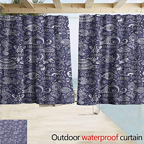 Under the Sea Outdoor Grommet Top Curtain Panel Ocean Animals Shells Plants Seahorse Turtle Fishing Theme Artwork Print Perfect For Your Patio, Porch, Gazebo, or Pergola W72