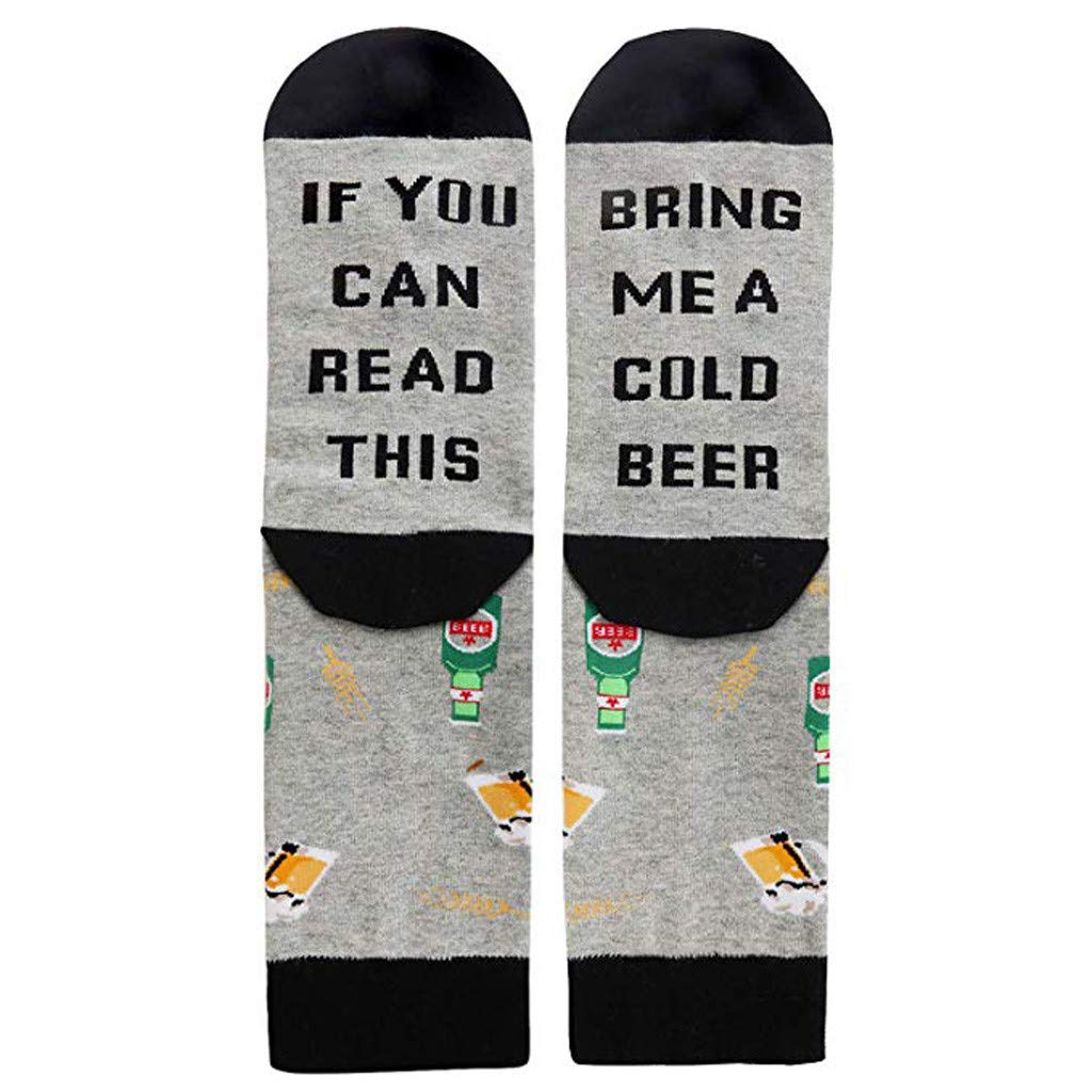 Pgojuni Clearance Men Women Novelty Funny Saying Crew Socks If You Can Read This Socks