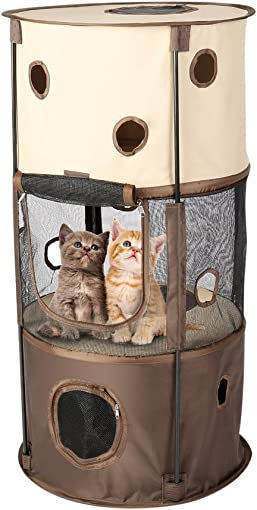 OUTAD Cat Tree, Cat Condo Cat Tunnel Cat Tower Cat Toys Playhouse Indoor Cardboard Cat House Furniture Cat Scratching Posts