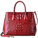 PIFUREN Women's Crocodile Embossed Handbags Genuine Leather Top Handle Purses E72110(Big Size, Red)