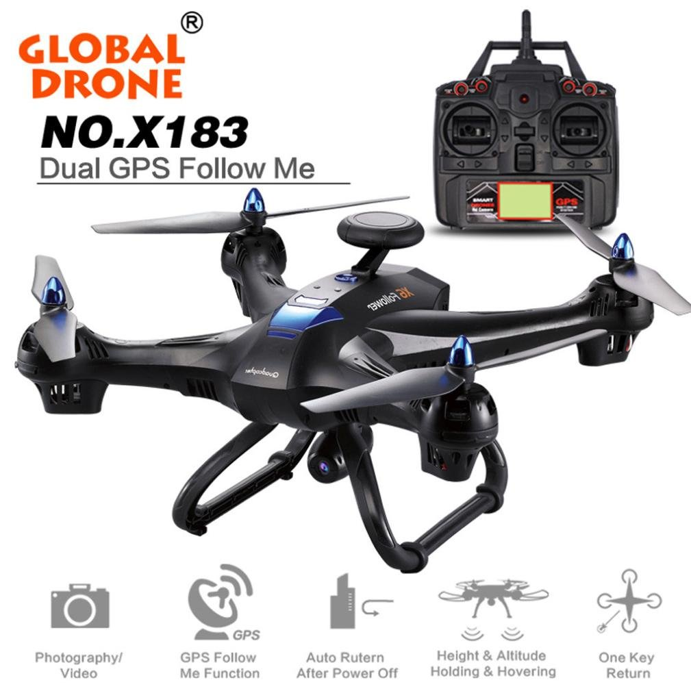 Shybuy Global Drone HD Camera, Global Drone 6-axes X183 With 2MP WiFi FPV HD Camera GPS Brushless Quadcopter by Shybuy