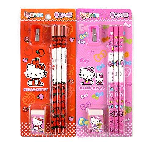 Hello Kitty Pencil - Sanrio Hello Kitty Pencil Eraser Pencil Sharpener School Gift Stationery 1 Set (Random)