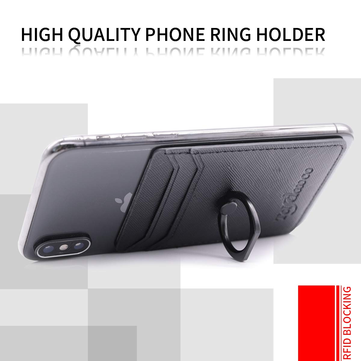 Phone Card Holder with Phone Ring Grip Adhesive Wallet Cell Phone Pocket Credit Card ID Case for Back of Phone,3M Sticker Smartphones- Black Stick-on,Card Sleeve for iPhone,Samsung