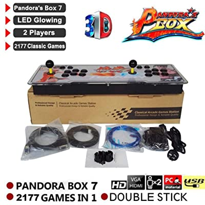2177 en 1 3D Pandora's Key 7 Box Consola de juegos arcade retro, 1080P Arcade Machine, 4 Players Max Arcade Machine, 2 Player Game Controls: Bebé