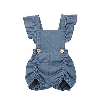 05a9c6b2b60c Amazon.com  Hiworldki Summer Newborn Baby Girls Ruffles Romper Jumpsuit  Denim Jeans Sunsuit Outfits  Clothing