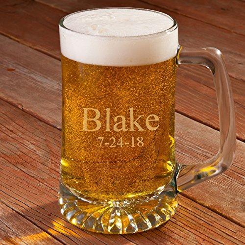 Personalized 25 oz. Beer Mug - Monogrammed Beer Mug - Engraved Groomsmen Beer Mug by A Gift Personalized