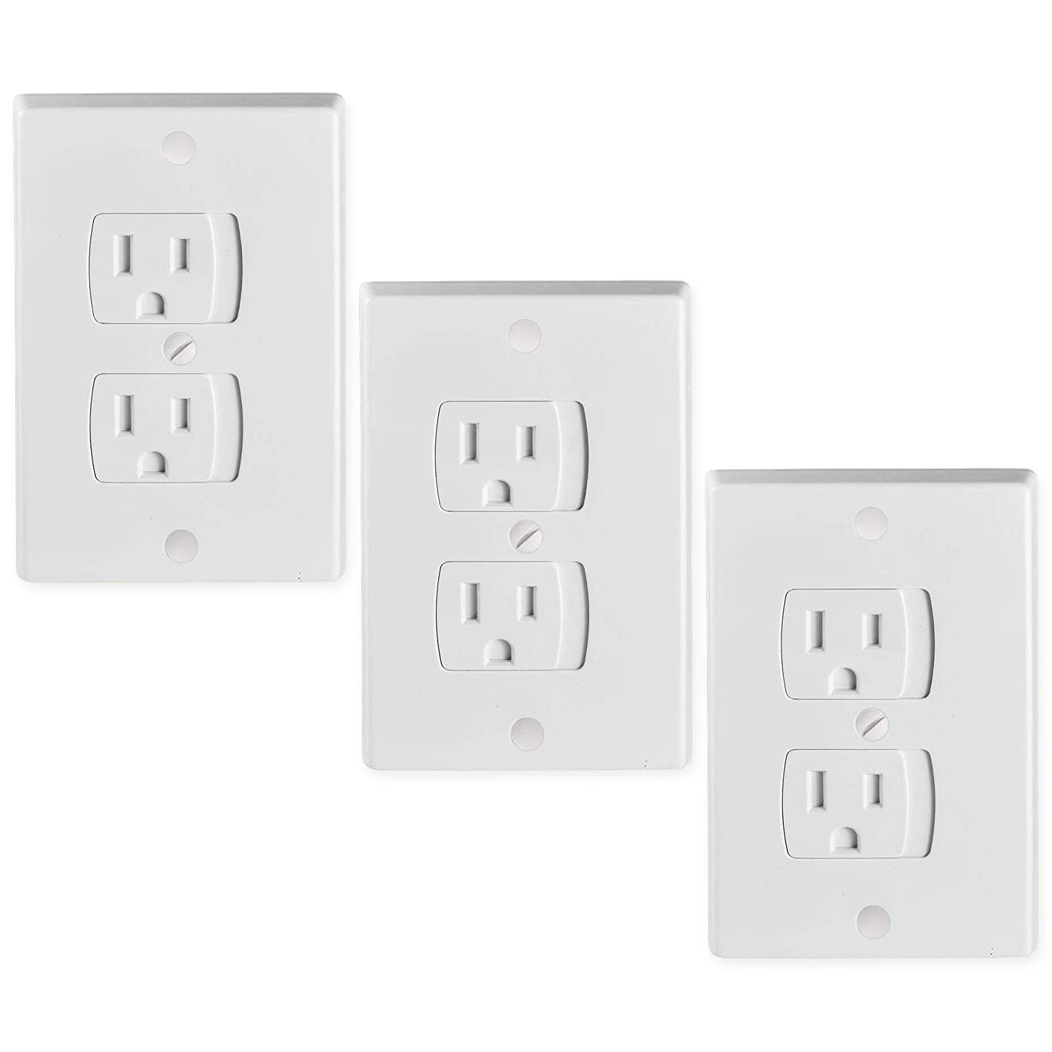 Tiger Chef Universal White 6-Pack Self-Closing Electrical Light Switch Outlet Covers Plate, Baby Proofing Child Safet6 outler cover baby safety
