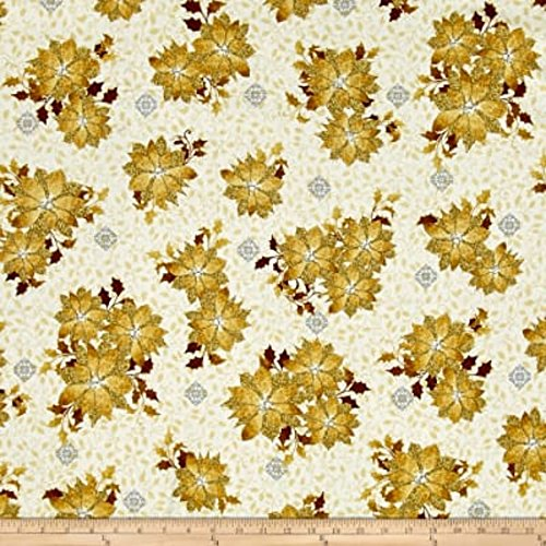 A Golden Holiday Christmas Fabric Poinsettia Gold Quilting Treasure By the Yard