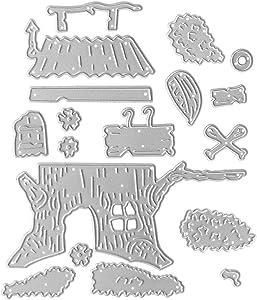 Cutting Dies Metal, Christmas Die Cut Metal, Tree House Decorate Embossing Stencils for DIY Scrapbooking Photo Album Decorative DIY Paper Cards Making Gift, Metallic Die Cut
