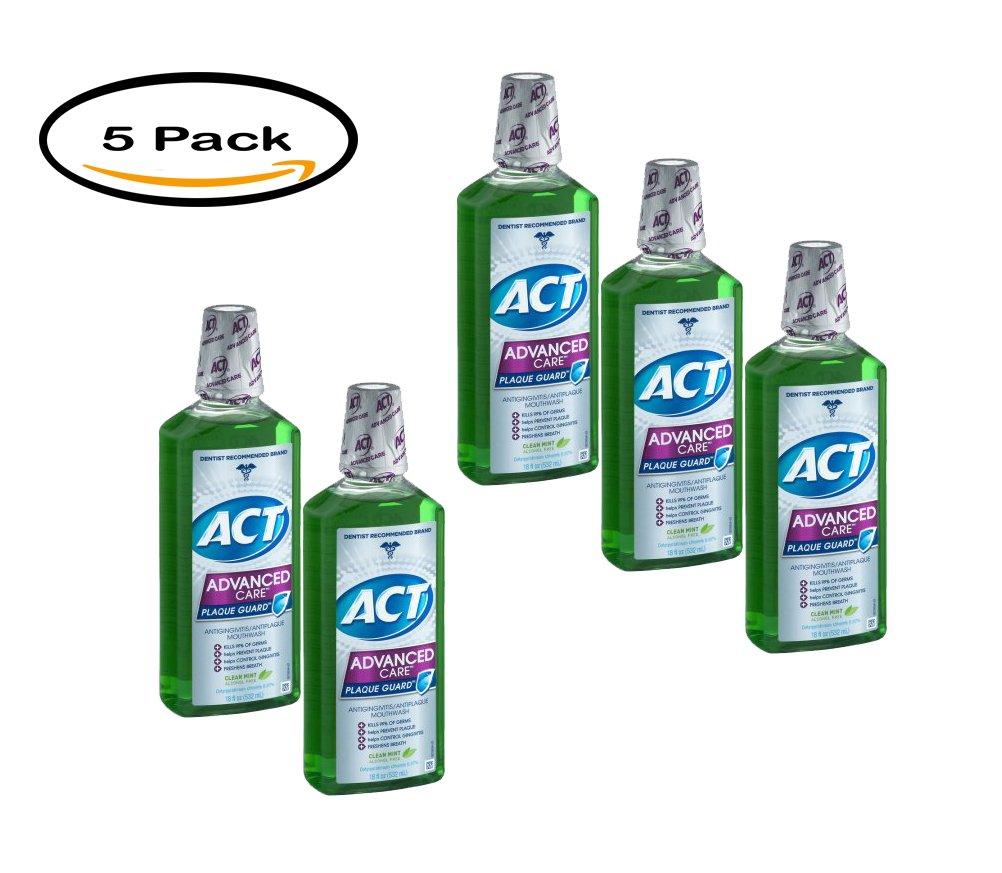 PACK OF 5 - Act Advanced Care Plaque Guard Antigingivitis/Antiplaque Mouthwash, 18 fl oz