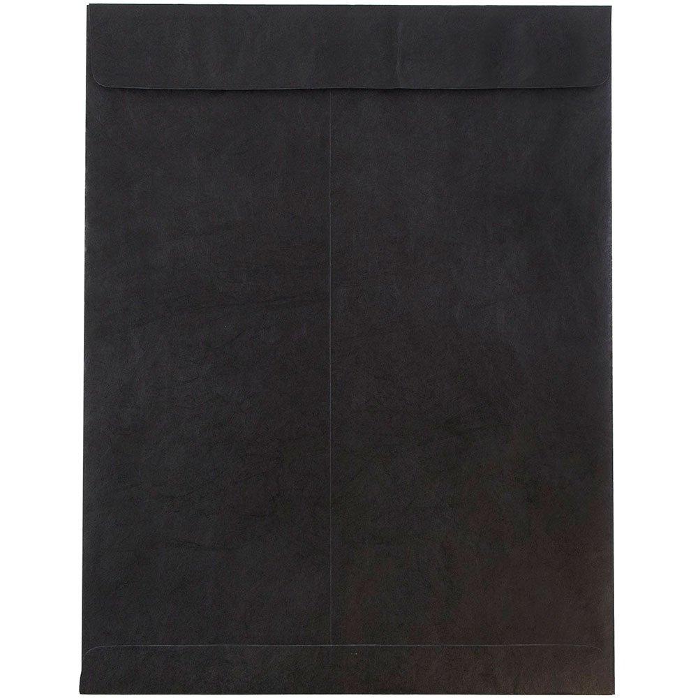 JAM PAPER Tyvek Tear-Proof Open End Catalog Envelopes - 10 x 13 - Black - 10/Pack