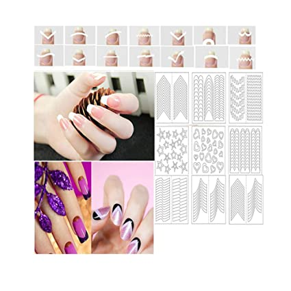 Amazon.com: CINEEN 24 Pcs French Manicure Nail Stickers Nail Tips ...
