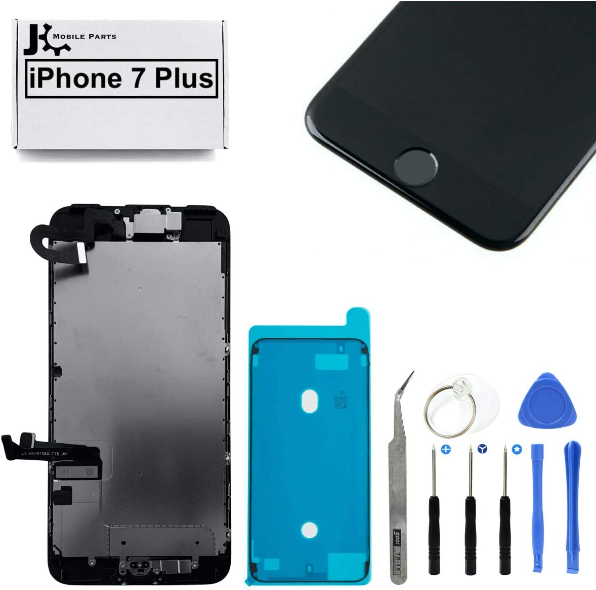 Full Screen Replacement LCD 3D Touch Assembly Front Camera Ear Speaker Home Button with Frame Adhesive and Repair Tools for iPhone 7 Plus 5.5 inch (Black)