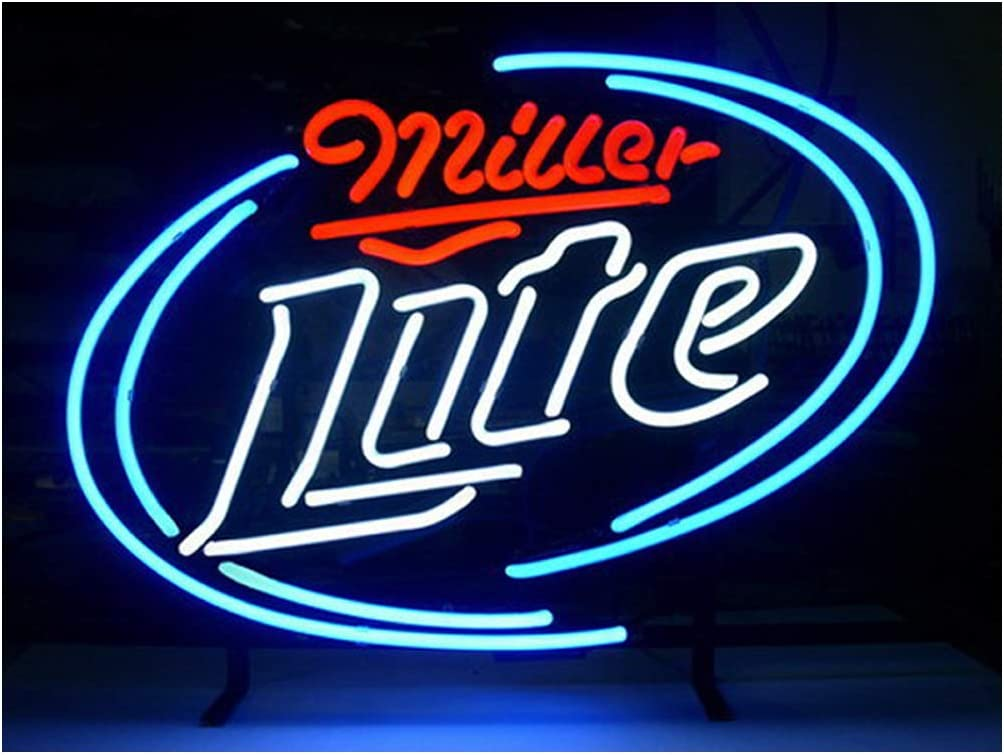 LDGJ Miller Lite Neon Signs Light Sign Home Beer Bar Pub Recreation Room Game Lights Windows Glass Wall Signs Party Birthday Bedroom Bedside Table Decoration Gifts (Not LED)