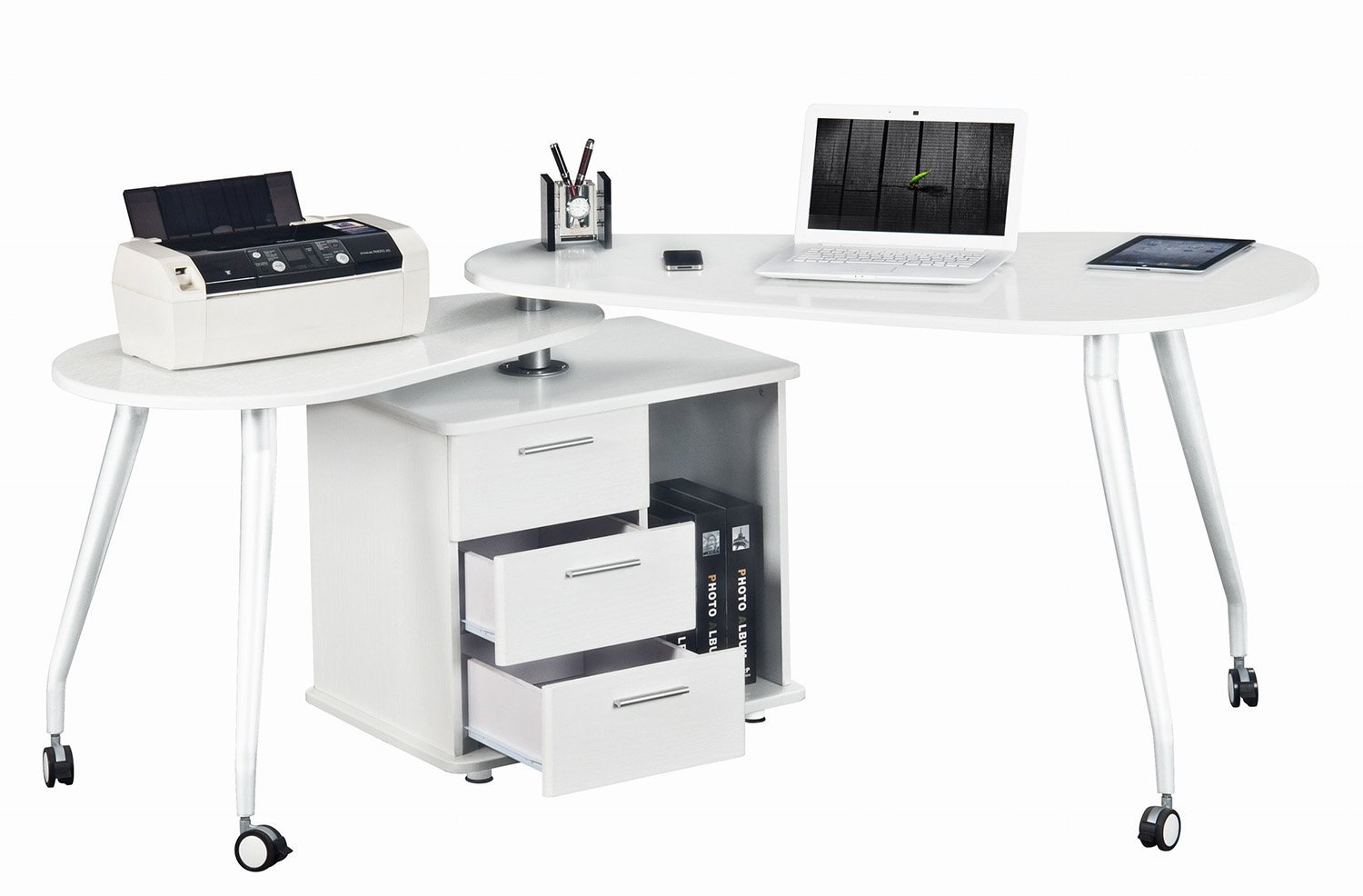 Amazon.com: Modern Rotating Computer Desk With Storage. Color: White:  Kitchen & Dining
