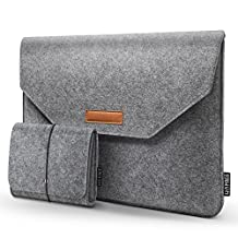 HOMIEE 15-15.6 Inch MacBook Pro Sleeve Felt Laptop Case for 15 Inch MacBook Pro 2015-2018 and Other Ultra Slim Laptops Ultrabooks Notebooks, Shockproof Carrying Bag, Light Gray