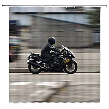Motorcycle race Bathroom Shower Curtain Waterproof Fabric w//12 Hooks 71*71inch