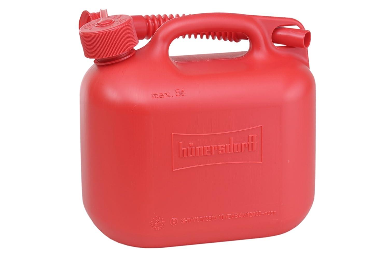 hünersdorff Kraftstoff-Kanister Standard 5l für Benzin, Diesel und Andere Gefahrgüter, UN-Zulassung, Made in Germany, TÜV-geprüfter Produktion, Rot hünersdorff GmbH 811560