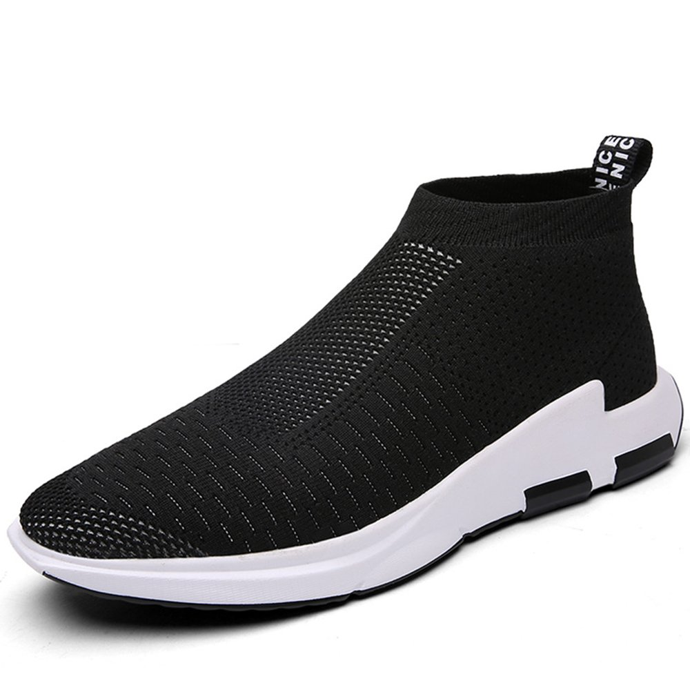 SITAILE Men's Knit Lightweight Running Shoes Soft Sole Casual Athletic Tennis Walking Sneakers (9 D(M) US, Black)
