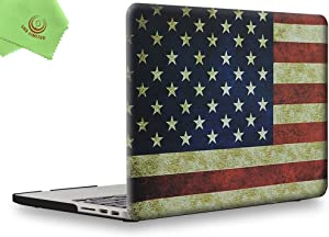 UESWILL Rubberized Unique Pattern Solid Hard Shell Case for MacBook Pro (Retina, 13 inch, Late 2012 to Early 2015) Model A1425/ A1502, No CD-ROM,No USB-C, US Flag