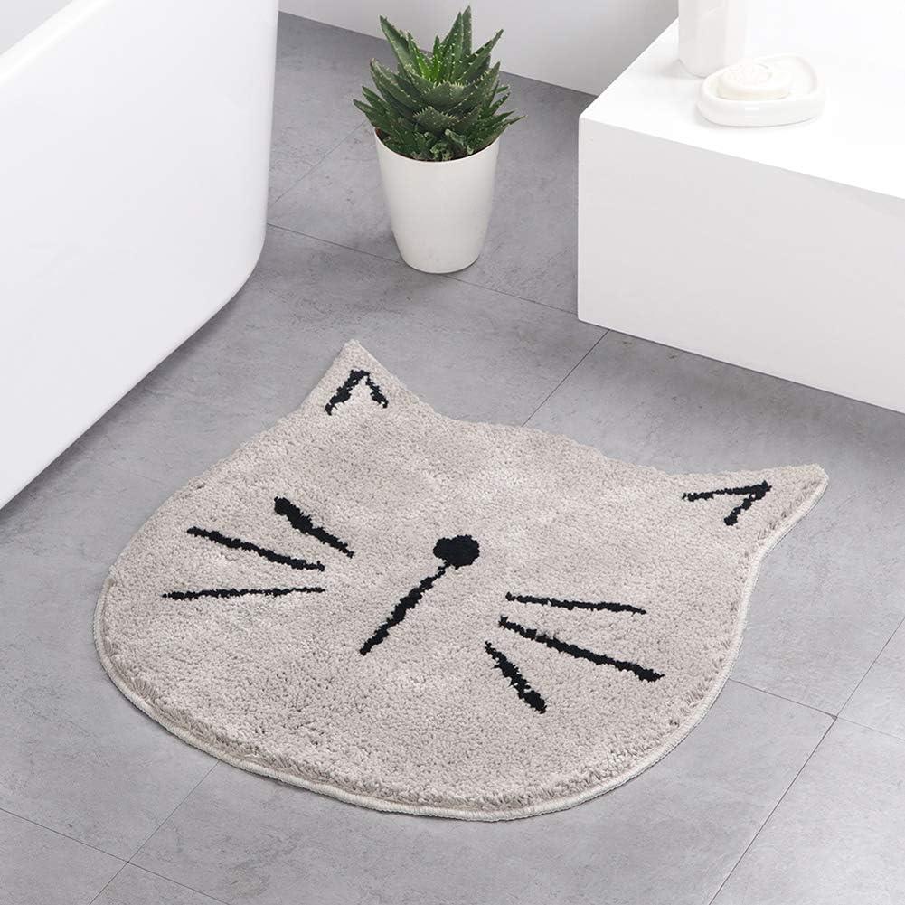 LULUME Home Carpet Doormat- Skid-Resistant Floor Mat - Soft Cute Cat Rugs for Front Door Bathroom Pet House(Grey)