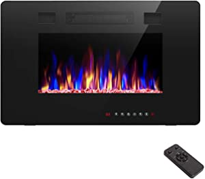 R.W.FLAME 30 inch Recessed and Wall Mounted Electric Fireplace, Fit for 2 x 4 and 2 x 6 Stud, Remote Control with Timer,Touch Screen,Adjustable Flame Color and Speed, 750-1500W
