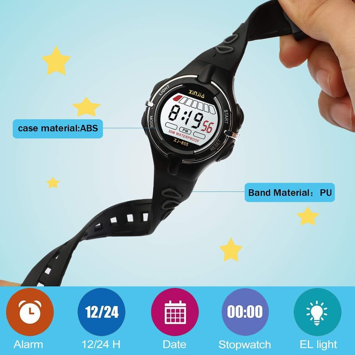 Montres Enfants Garçons Montre de Sport Electroniques Montres Bracelets garçons Montre numérique Digitale 50M étanche 12/24H/chronomètre/rétro-éclairage LED Noir