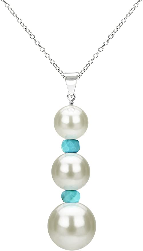 New 925 Sterling Silver Freshwater Pearl Genuine Emerald Accent Necklace Chain