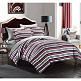 7pc Black Red White Stripes Comforter King Set Gray, Horizontal Sports Colors Deep Red Grey Rugby Striped Bedding Nautical Themed Design Modern Team Colorful Boys Dorm College, Microfiber
