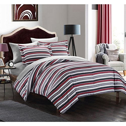 7pc Black Red White Stripes Comforter King Set Gray, Horizontal Sports Colors Deep Red Grey Rugby Striped Bedding Nautical Themed Design Modern Team Colorful Boys Dorm College, Microfiber by OSD (Image #1)