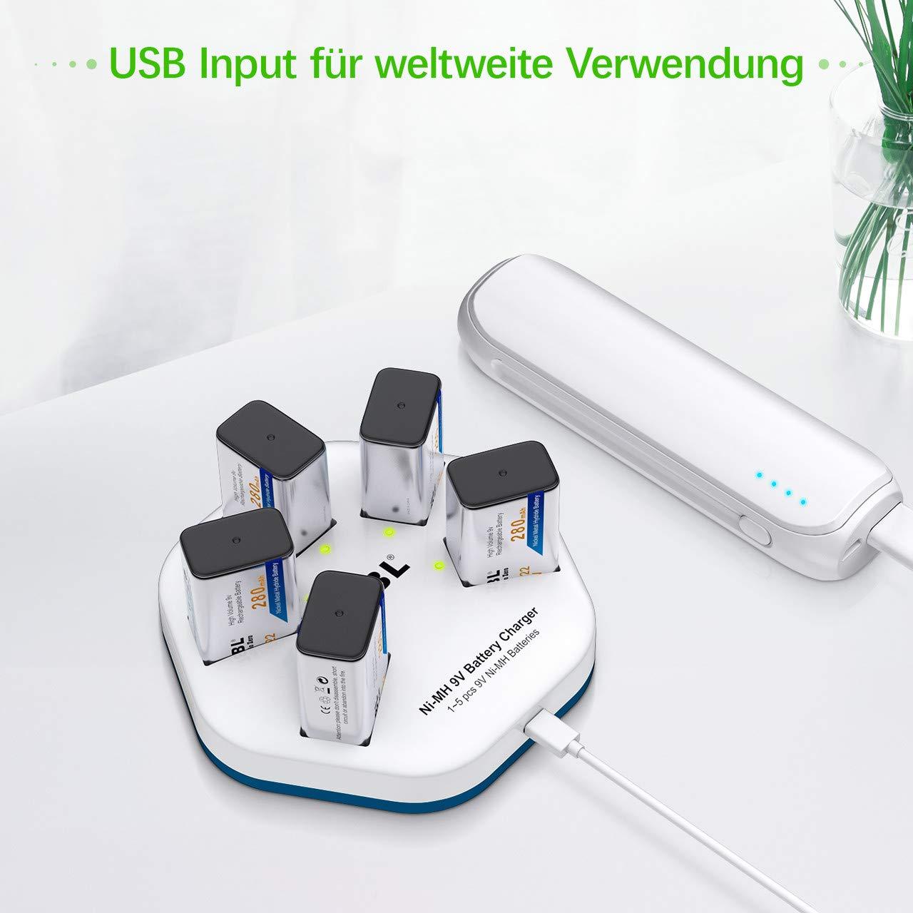 EBL USB Ladegerät 9V Akku Ladegerät mit 5 Stück 9V Block NI-MH Akkus 280mAh