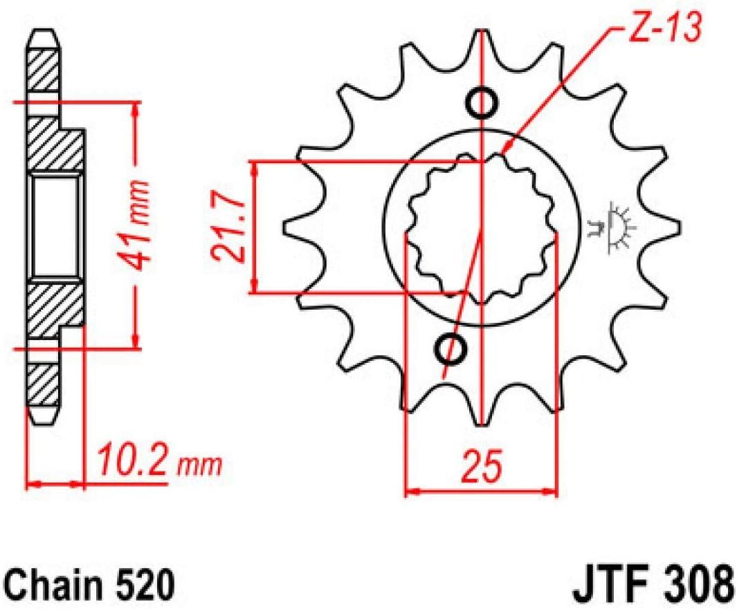 Compatible con 650 Dominator//FX//FMX//SLR Pi/ñ/ón de 13 dientes de acero JTF308.13.