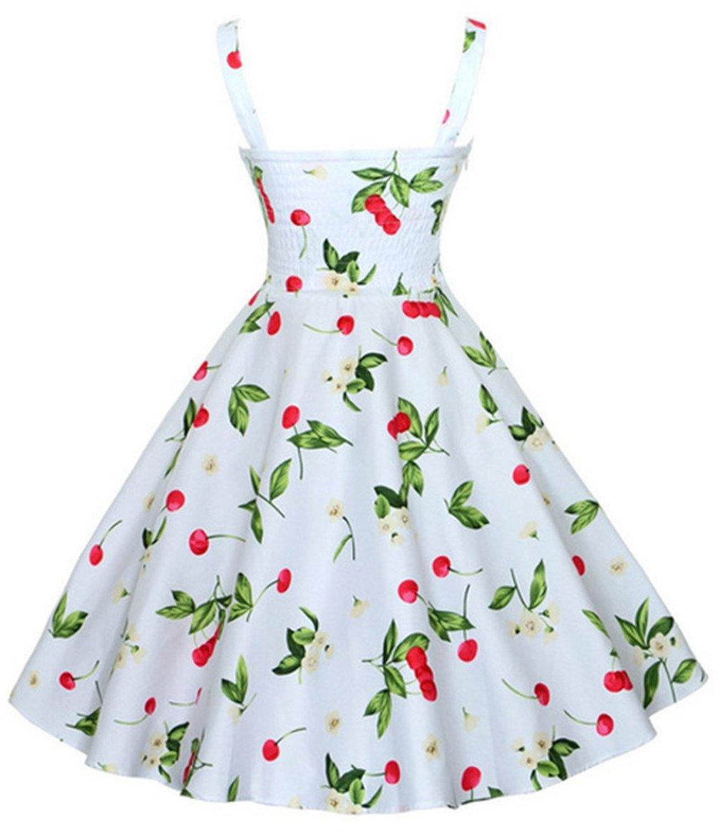 NEW Summer Sleeveless Casual Vintage Cherry Big Swing Mini Floral Dresses