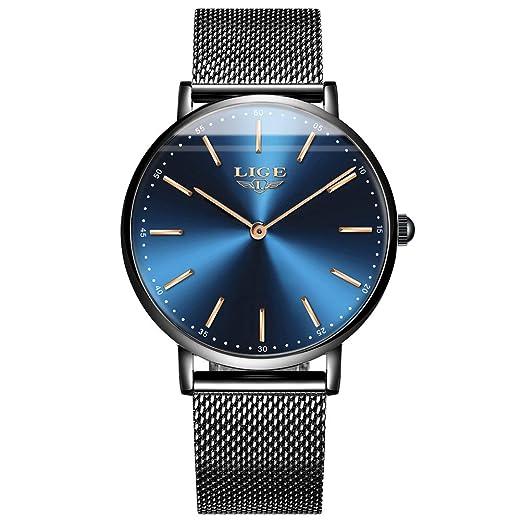 LIGE Reloj para Hombres a Relojes Casuales de Lujo clásicos de Impermeables Reloj de Pulsera de Malla de Cuarzo: Amazon.es: Relojes