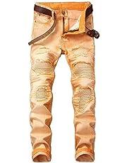 FSSE Mens Pleated Stretchy Straight Leg Moto Biker Fashion Denim Pants