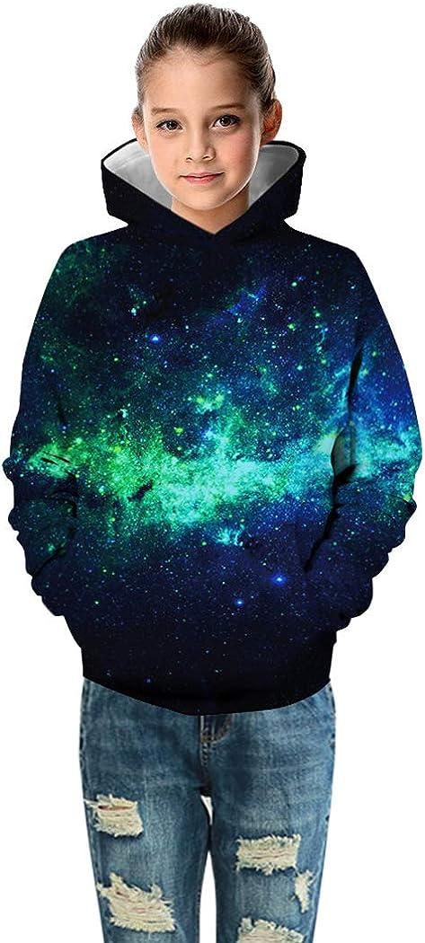 Sixyotie Sweat-Shirt /à Manches Longues avec Motif Animalier et Motif Galaxy Capuche Pull Swag Sweatshirt