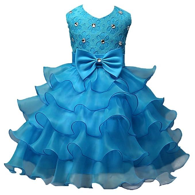 Niña Escote en V Arco Malla Brillante Fiesta de Baile Princesa Pastel Vestidos Mullido Azul Claro