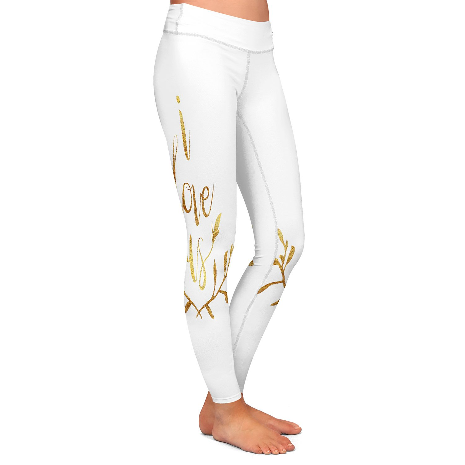 I Love Us Gold White Athletic Yoga Leggings from DiaNoche Designs by Artist Zara Martina