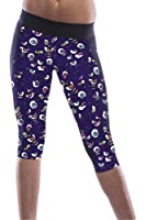 Fahion Womens Retro Pattern Printed Knee Length Yoga Pants (One Size, Navy Blue)